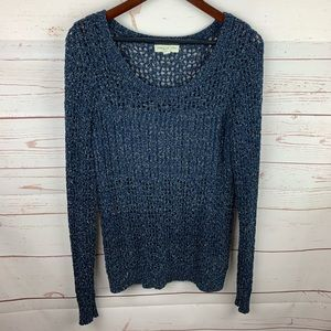 UO | Staring At Stars Blue Open Knit Sweater